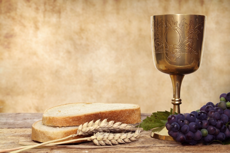 communion with brass goblet