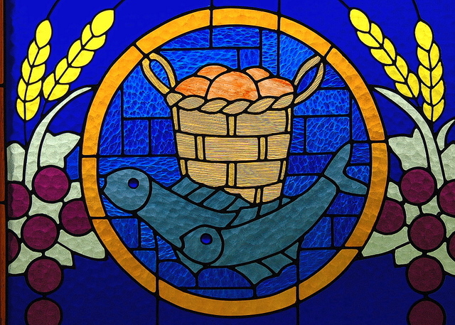loaves and fish stained glass